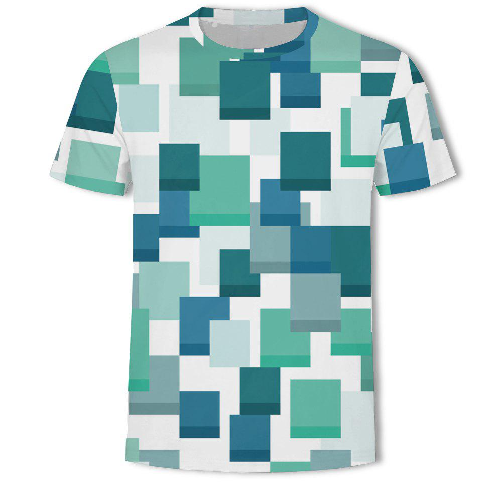 Shop Men's New Striped Grid 3D Printed Short-Sleeved T-Shirt