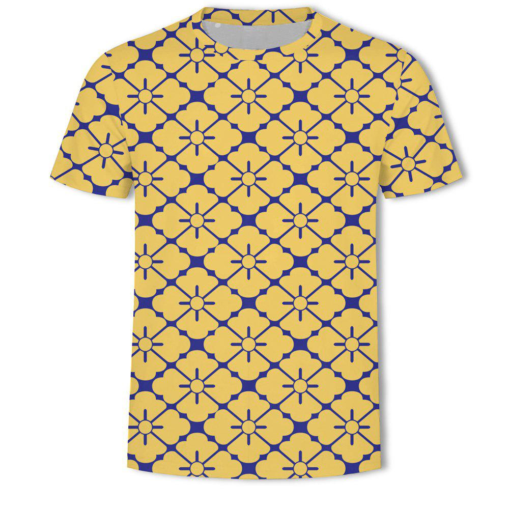 Discount Men's New Striped Grid 3D Printed Short-Sleeved T-Shirt