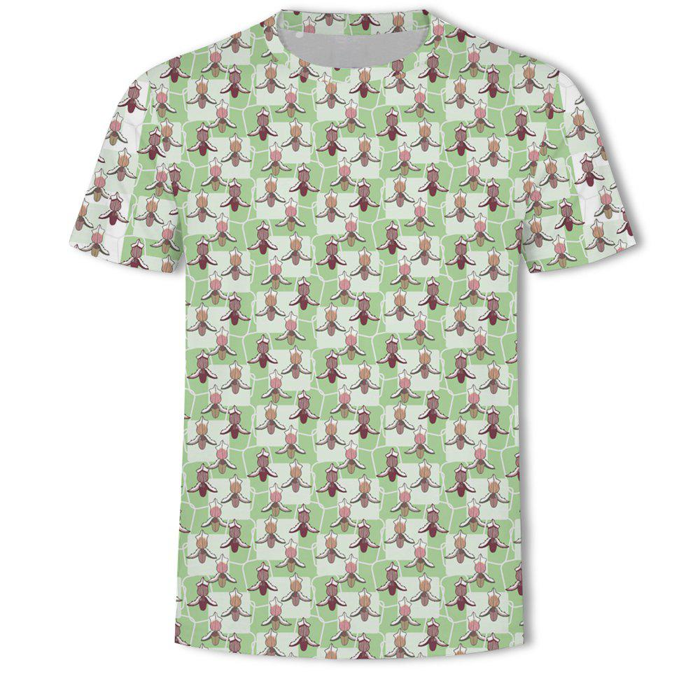 Outfit Men's New Flower 3D Printed Short-Sleeved T-Shirt