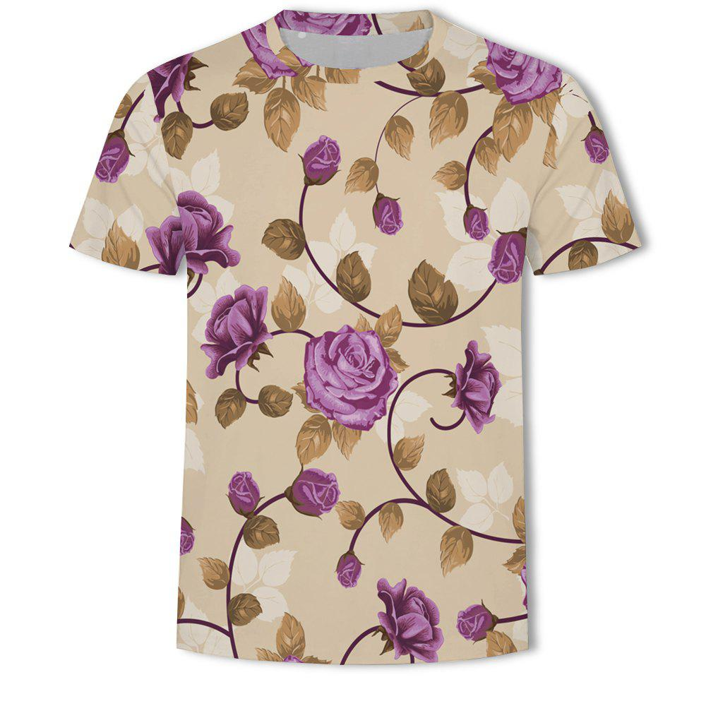 fc742cfc7511 Outfit Men s New Flower 3D Printed Short-Sleeved T-Shirt