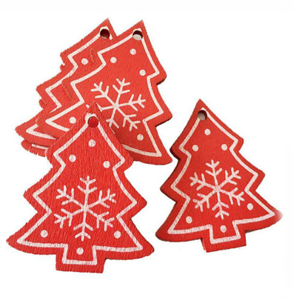 10pcs White Red Christmas Snow Bell Star Tree Ornament Wooden Hanging Pendants