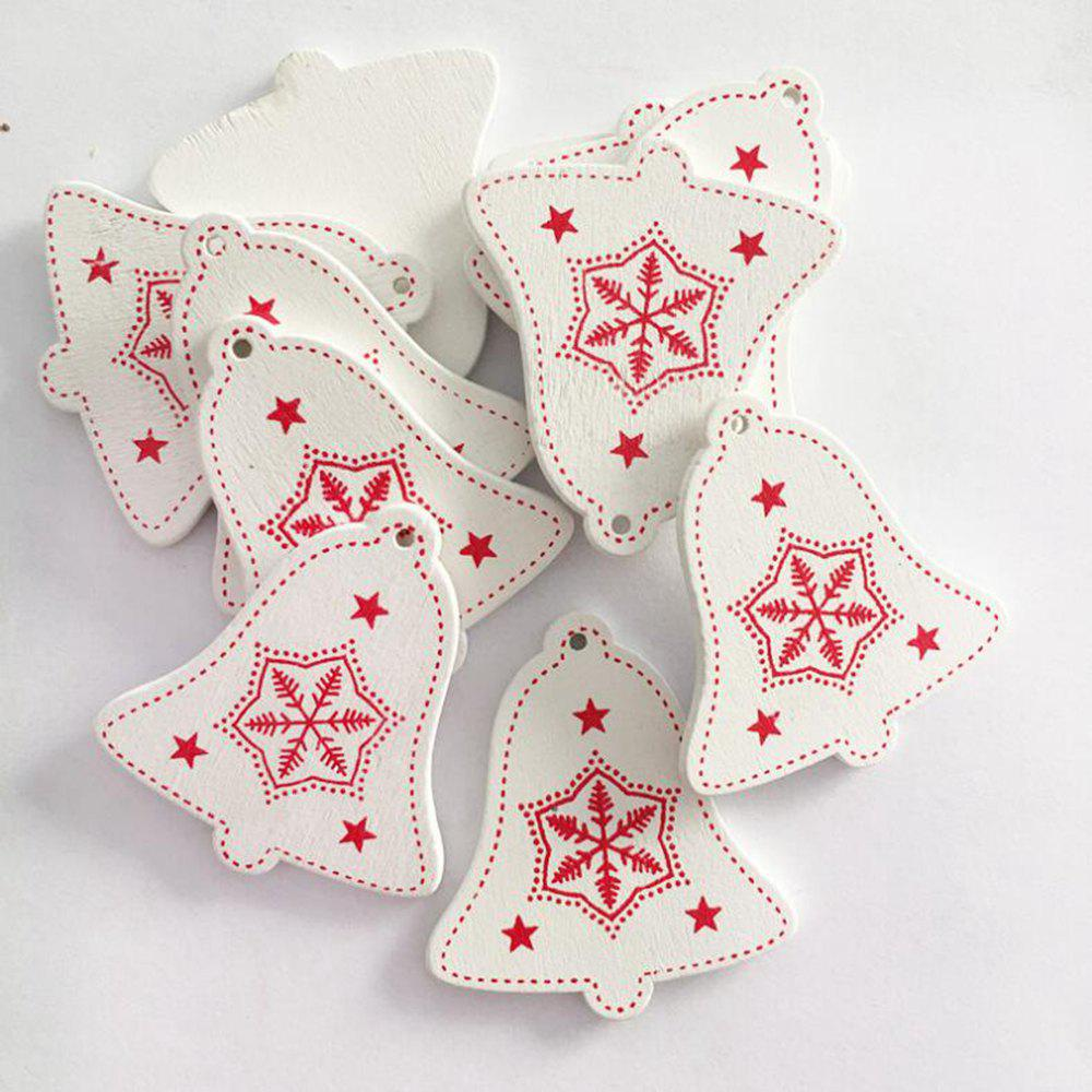 10pcs/set White Red Christmas Bell Tree Ornament Wooden Hanging Pendants