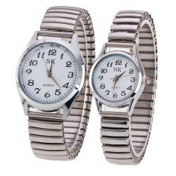 Fashion Spring Steel Band Simple Digital Scale Universal Lovers Watch -