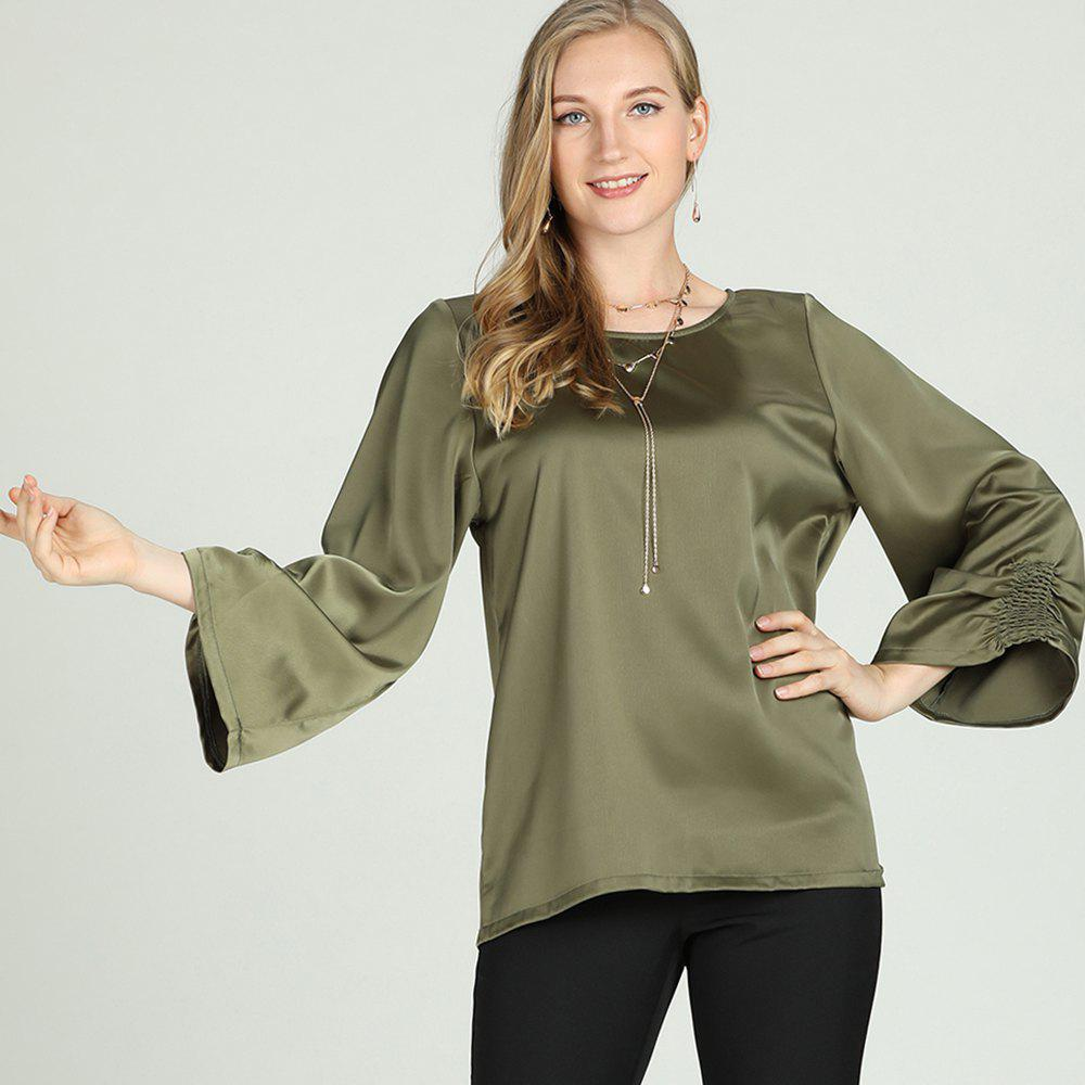 Affordable SBETRO Solid Shirt Blouse O Neck Flare Kimino Sleeve