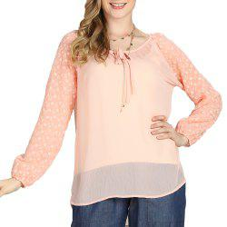 SBETRO A8501001 Sheer Chiffon Blouse Shirt with Keyhole Neck Smock -