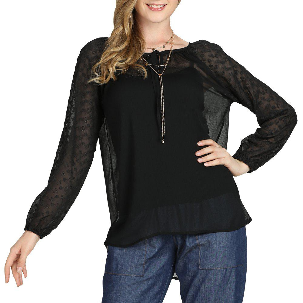 Sale SBETRO A8501001 Sheer Chiffon Blouse Shirt with Keyhole Neck Smock