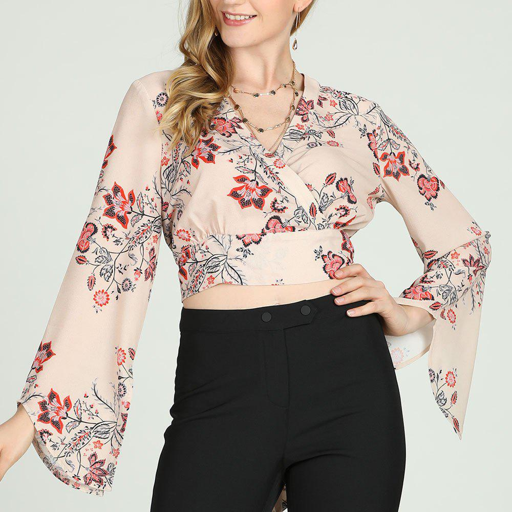 Fancy SBetro Taupe Floral Print Surplus Long Bell Sleeve Smocked Waisted Blouse Top