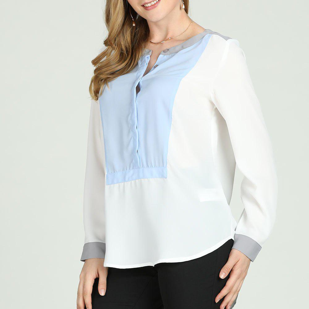 Unique SBetro White Stripe Bib Long Sleeve Button Placket Henley Tunic Top Casual