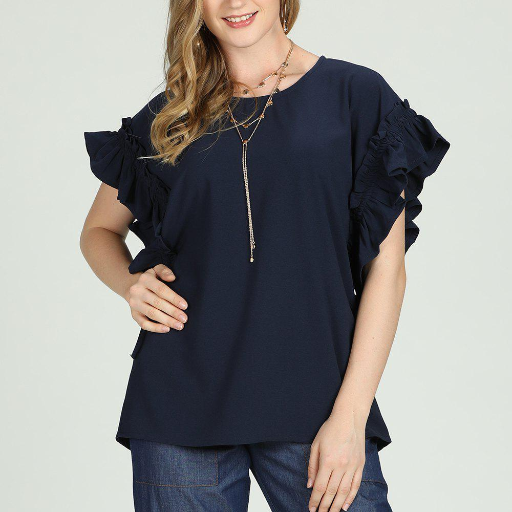 Trendy SBetro Navy Ruffle Trimmed Cap Sleeve Crewneck Tunic Top Casual Fashion