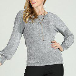 SBETRO Knitting Shirt Grey Crewneck Drop Shoulder Long Balloon Sleeve Tunic Top -