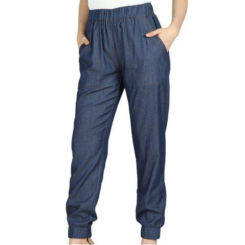 SBETRO Jeans Elastic Waist Side Pocket Jogger Pants Casual Fashion