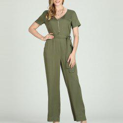 SBETRO Silid Women Jumpsuit Deep V Neck Short Sleeve -