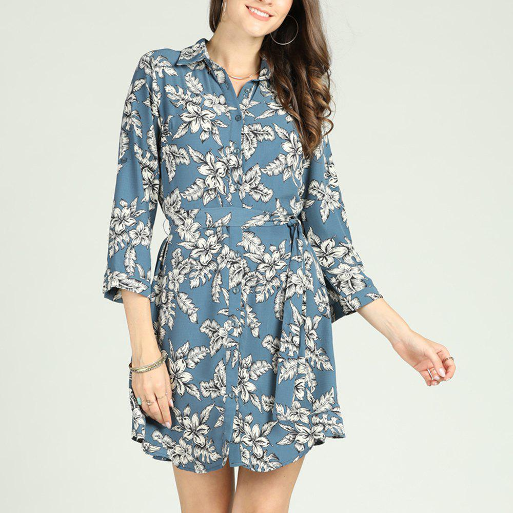 Latest SBETRO Floral Print Shirt Dress with Waist Tie 3/4 Sleeve Casual