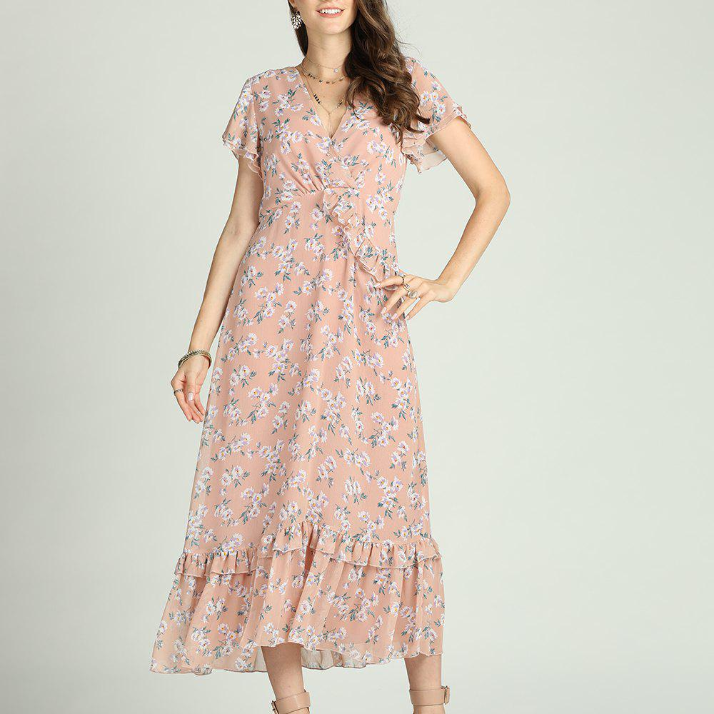 Fashion SBETRO Floral Print Dress Fishtail Ruffle Sleeve Deep V Neck Maxi