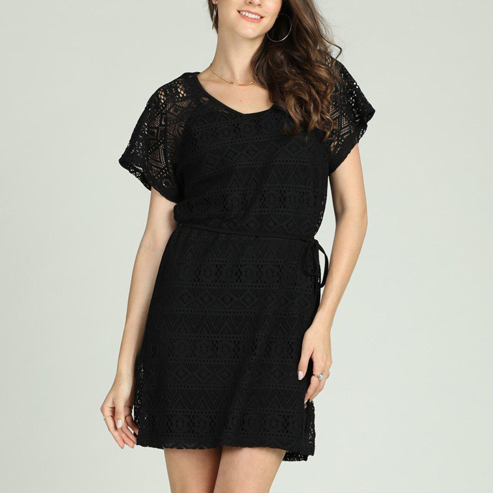 Fancy SBETRO Lace Dress Bohemian Lace up Short Sleeve Mini Black Elegant