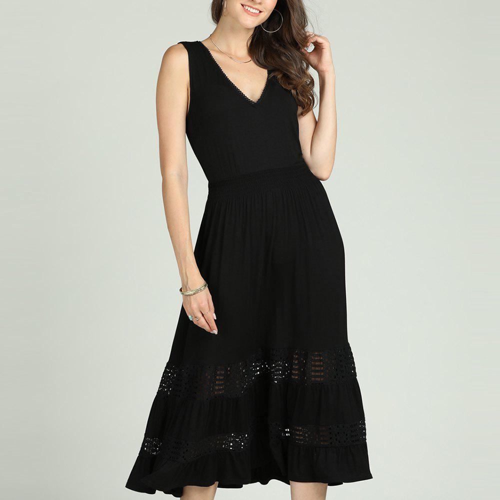 Unique SBETRO Solid A-Line Dress Hollow Out Elegant Party