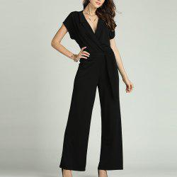 SBETRO Solid Office Jumpsuit with Tie Turn Down Collar Deep V Neck Short Sleeve -