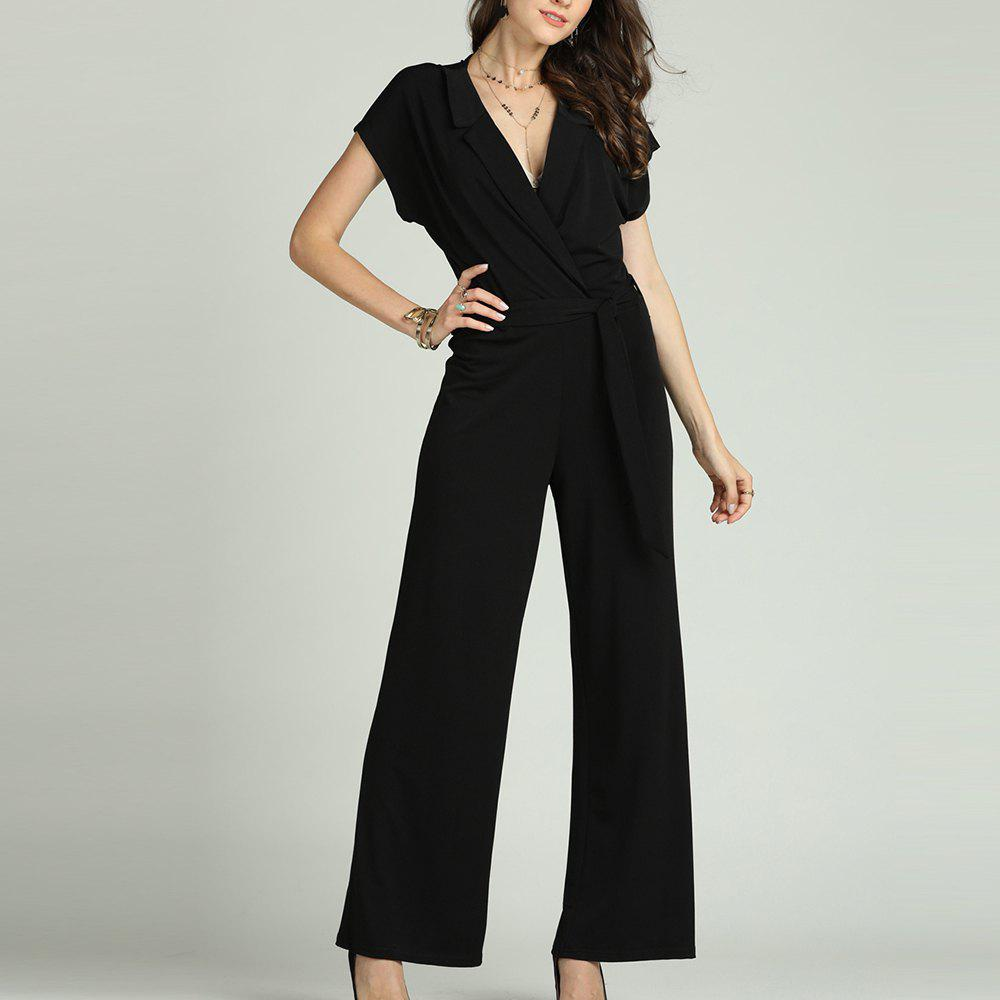 Latest SBETRO Solid Office Jumpsuit with Tie Turn Down Collar Deep V Neck Short Sleeve