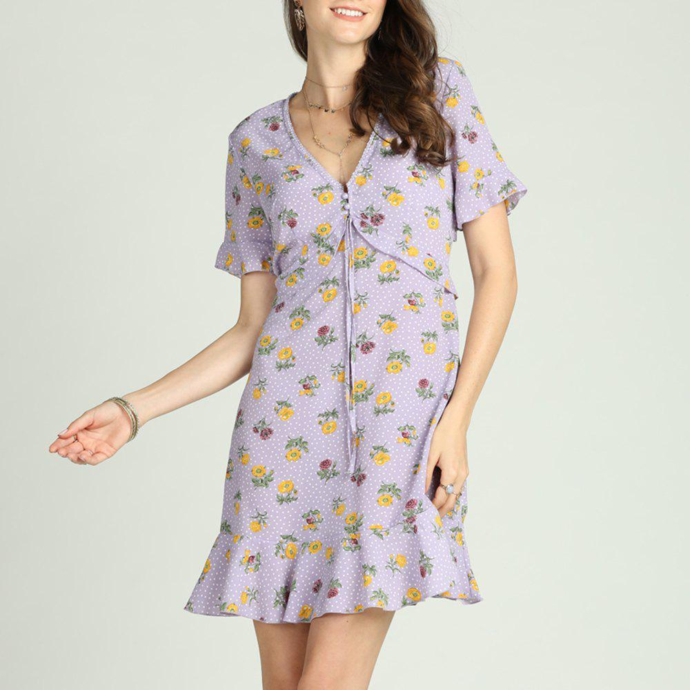 Hot SBETRO Female Floral Print Dress Fishtail Flare Sleeve Buttons Casual Sundress