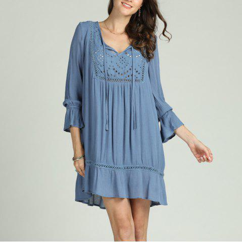SBETRO Solid Pleated Dress Hollow Out V Neck Ruffles Flare Sleeve