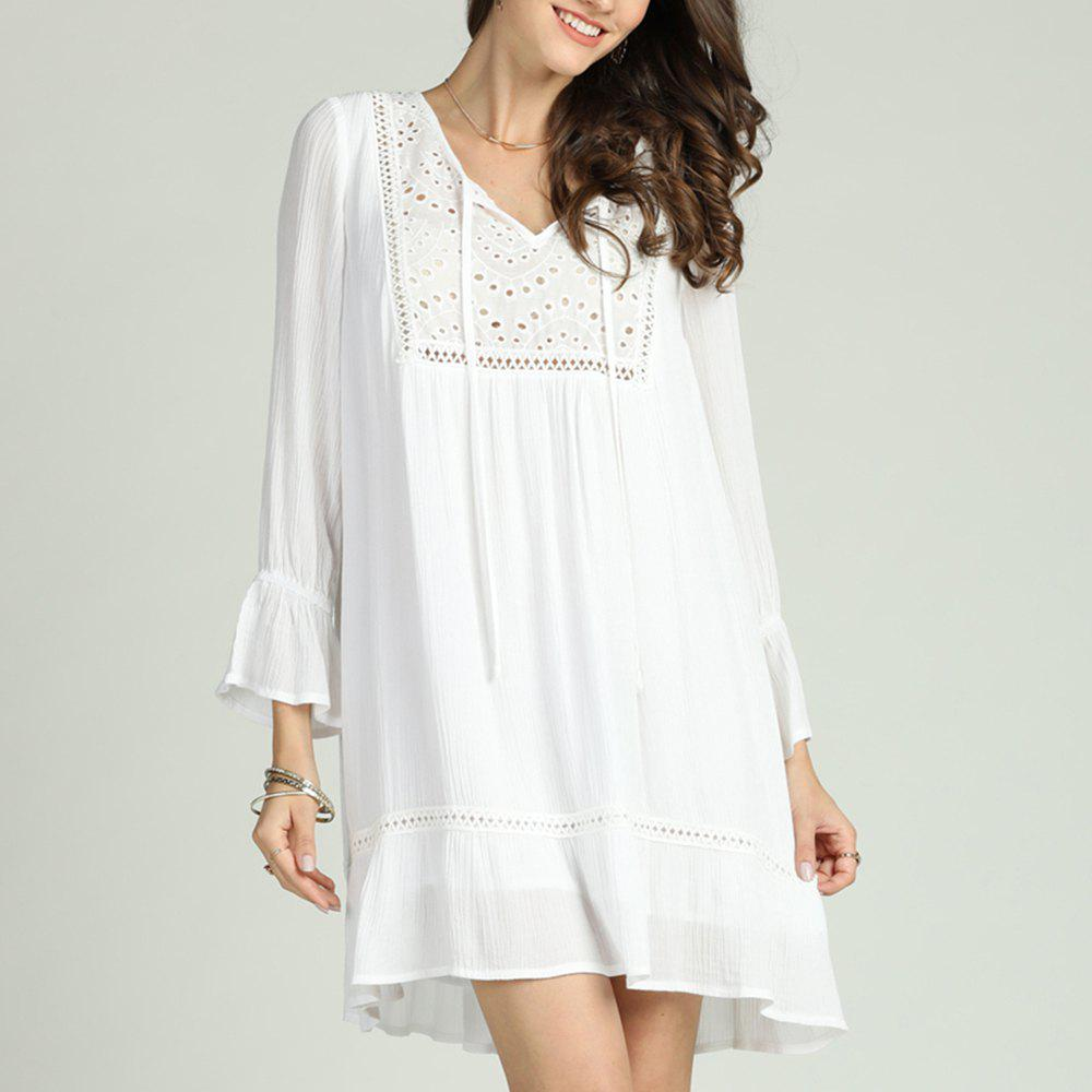 Discount SBETRO Solid Pleated Dress Hollow Out V Neck Ruffles Flare Sleeve