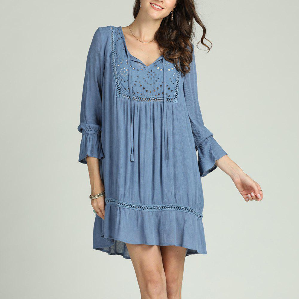 Chic SBETRO Solid Pleated Dress Hollow Out V Neck Ruffles Flare Sleeve