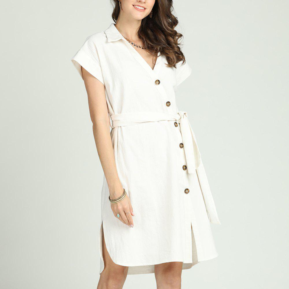 Fancy SBETRO Solid Shirt Dress For Office Ladies V Neck Single-breasted Knee Length