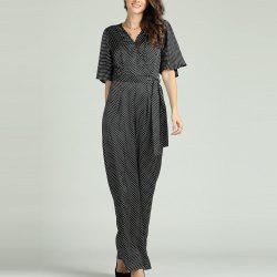 SBETRO Polka Dots Jumpsuit V Neck Flare Sleeve Officewear with Waist Tie -