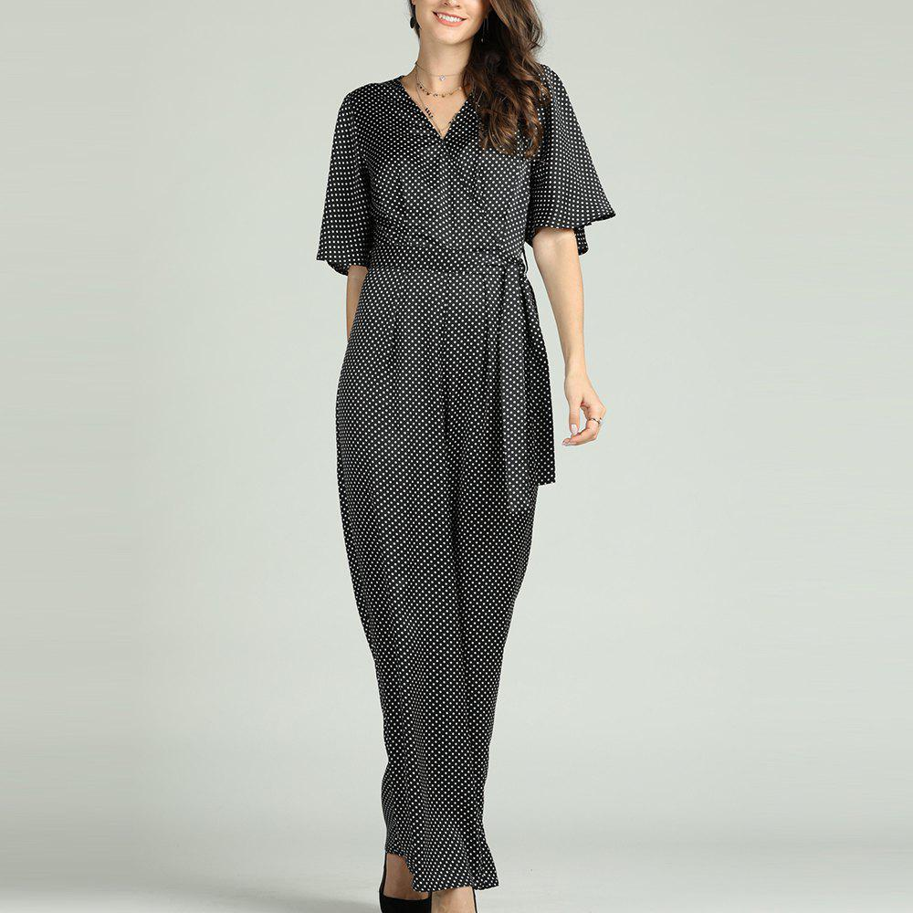Best SBETRO Polka Dots Jumpsuit V Neck Flare Sleeve Officewear with Waist Tie
