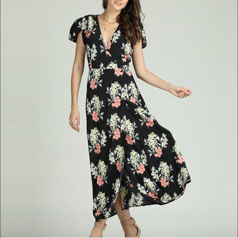 SBETRO Floral Print Maxi Dress Deep V Neck Slit Casual Party Fashion Sundress