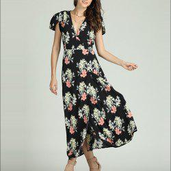 SBETRO Floral Print Maxi Dress Deep V Neck Slit Casual Party Fashion Sundress -
