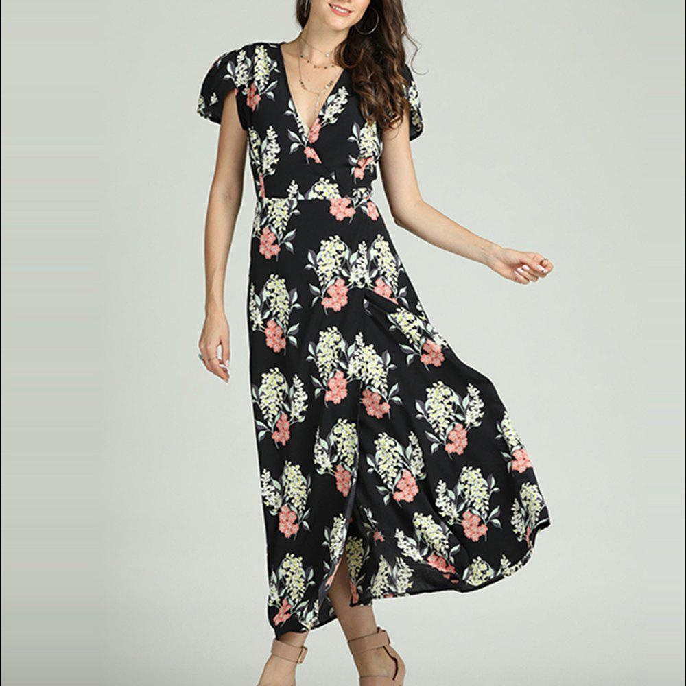 063730f0cc4 Cheap SBETRO Floral Print Maxi Dress Deep V Neck Slit Casual Party Fashion  Sundress