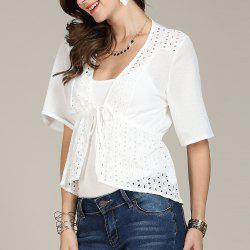 SBETRO White Women Shirt Hollow Out Flare Sleeve Lace Up -