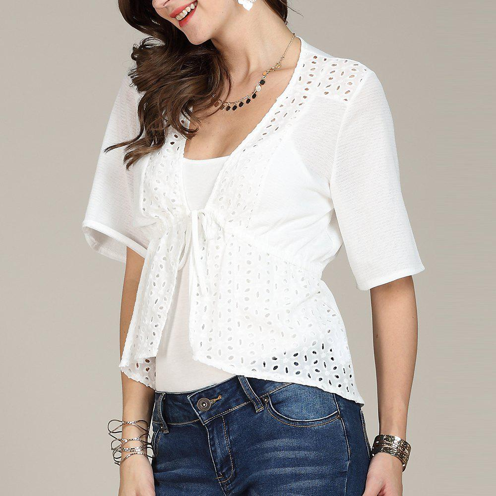 Buy SBETRO White Women Shirt Hollow Out Flare Sleeve Lace Up