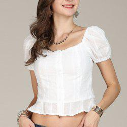 SBETRO Chiffon Blouse White Puff Sleeve Single Breasted White Blouse Crop Top -