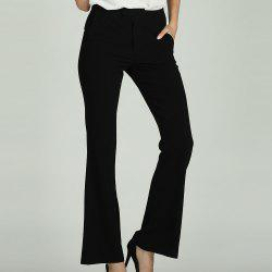 SBETRO SBETRO Black Work Trousers Solid Office Ladies Pants with Pockets Zipper -