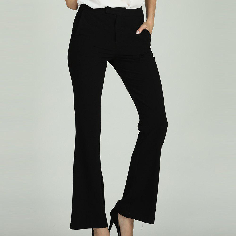 Hot SBETRO SBETRO Black Work Trousers Solid Office Ladies Pants with Pockets Zipper