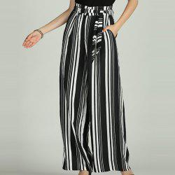 SBETRO Striped Wide Leg Pants Casual Loose Sporty Trousers for Women -