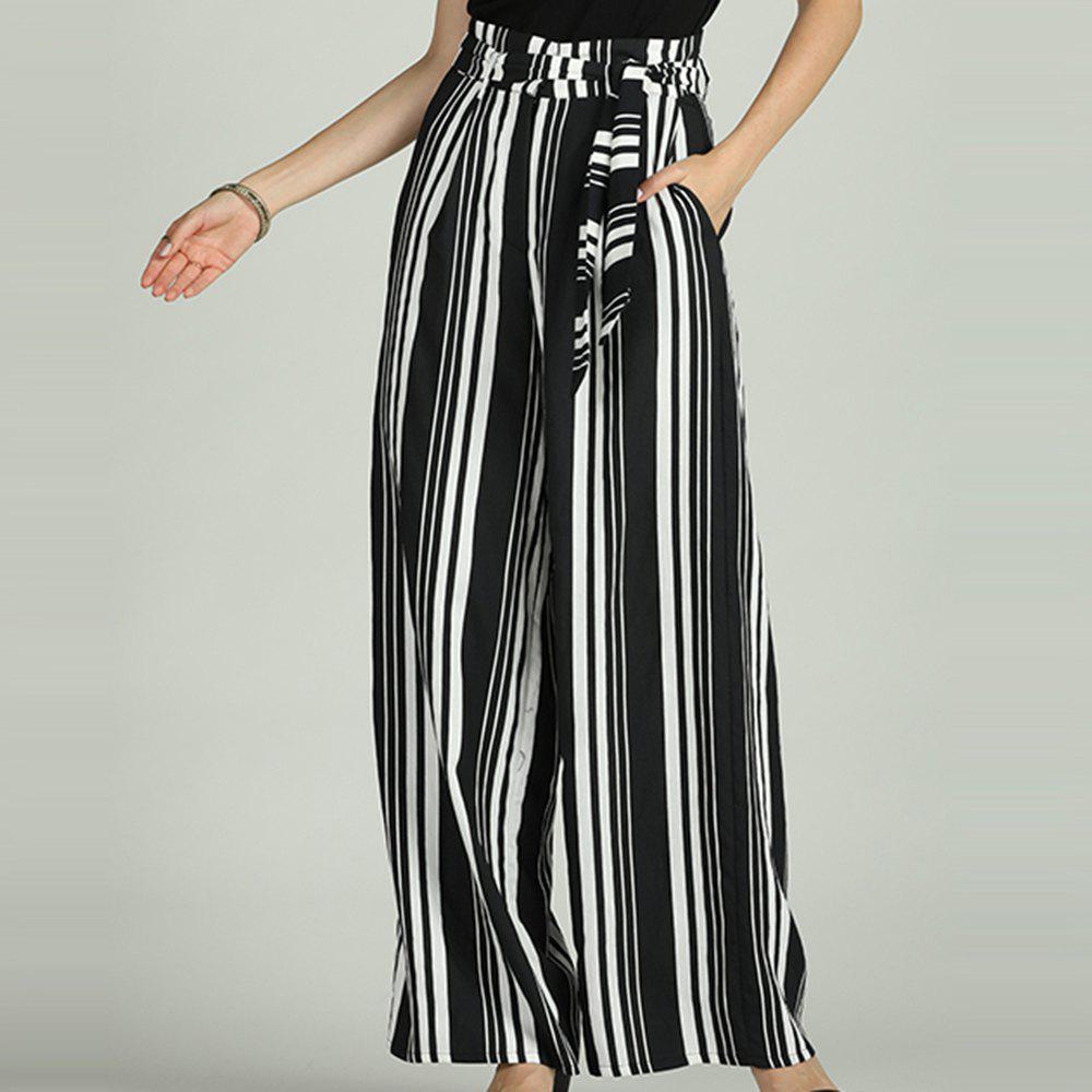 Store SBETRO Striped Wide Leg Pants Casual Loose Sporty Trousers for Women