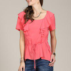 SBETRO A8501032 Chiffon Women Shirt Blouse Ruffle Lace Up Asymmetrical Tunic Top -