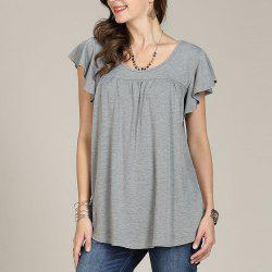 SBETRO Casual Women Shirt O Neck Pleated Solid Bell Sleeve Keyhole Back -