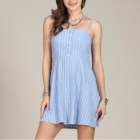 464447635175 SBETRO Striped Sling Summer Dress Single Breasted Sundress