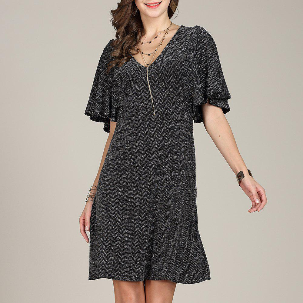 Unique SBETRO Fishtail Club Dress Deep V Neck Bell Sleeve Party