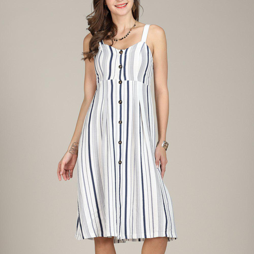 Latest SBETRO Sling Summer Dress Single-breasted Striped Knee Length