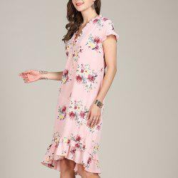 SBETRO Fishtail Floral Print Dress Ruffle Sleeve Deep V Neck -