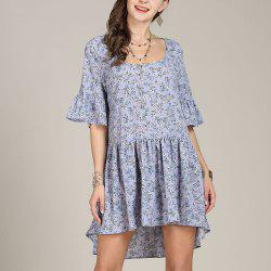 SBETRO Floral Print Casual Dress Pleated Fishtail Bell Sleeve -
