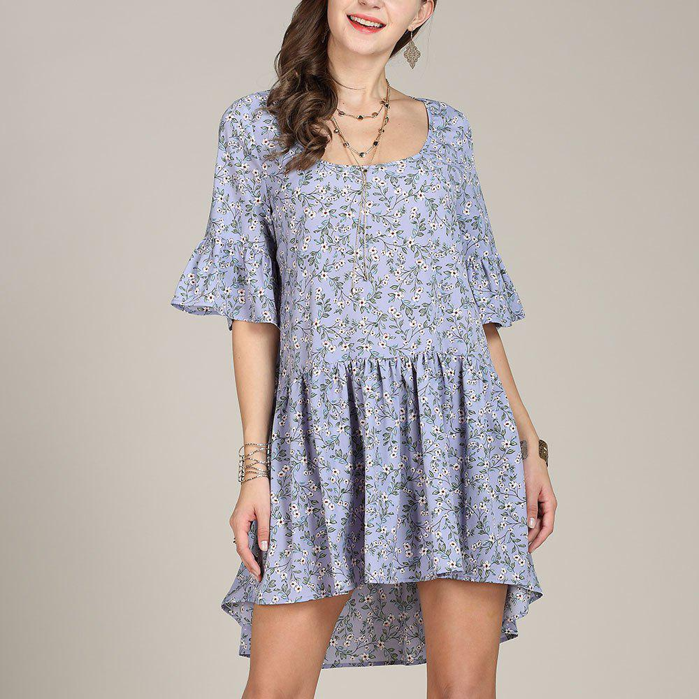 Cheap SBETRO Floral Print Casual Dress Pleated Fishtail Bell Sleeve