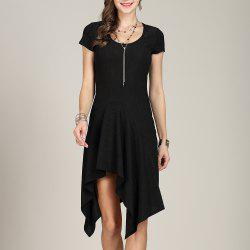 SBETRO U Neck Dress Solid Asymmetrical Slim Knitting -