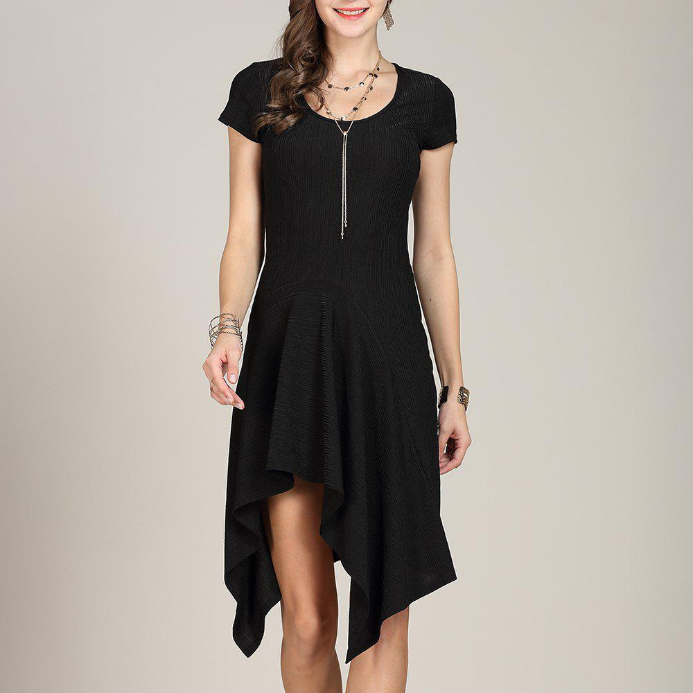 Unique SBETRO U Neck Dress Solid Asymmetrical Slim Knitting
