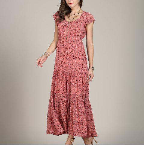 SBETRO Print Dress with Polka Dots Short Sleeve Pleated Dress Ankle Length